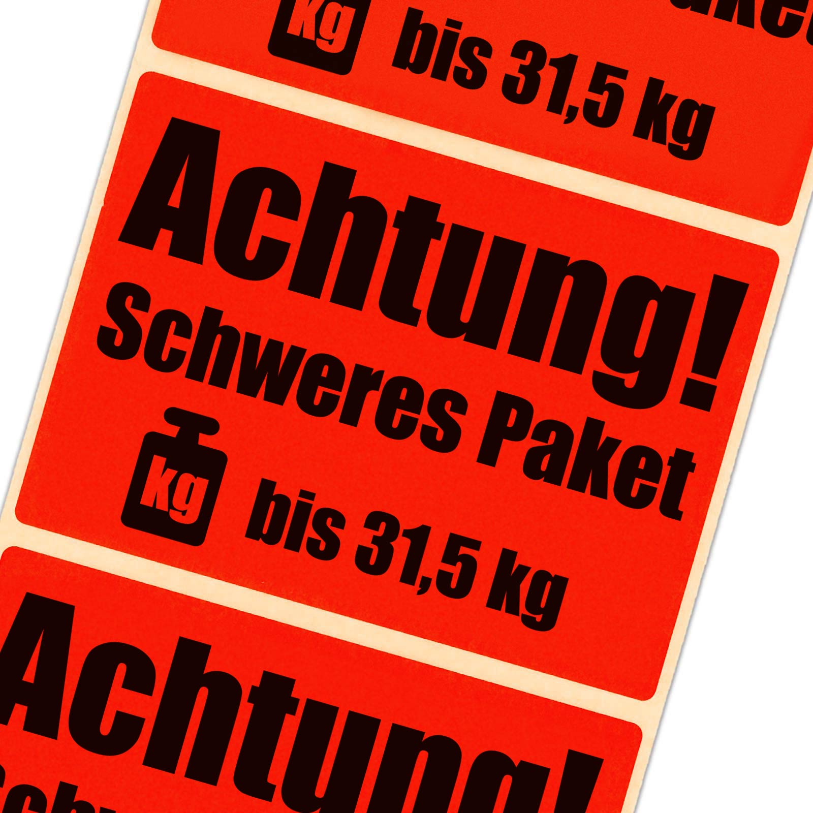 etiketten achtung schweres paket bis 31 5 kg leuchtend rot haftpapier 105 x 72 ebay. Black Bedroom Furniture Sets. Home Design Ideas