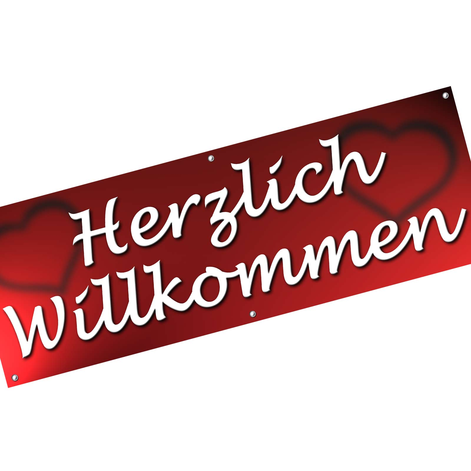 spannbanner banner werbebanner herzlich willkommen 2 m lang. Black Bedroom Furniture Sets. Home Design Ideas