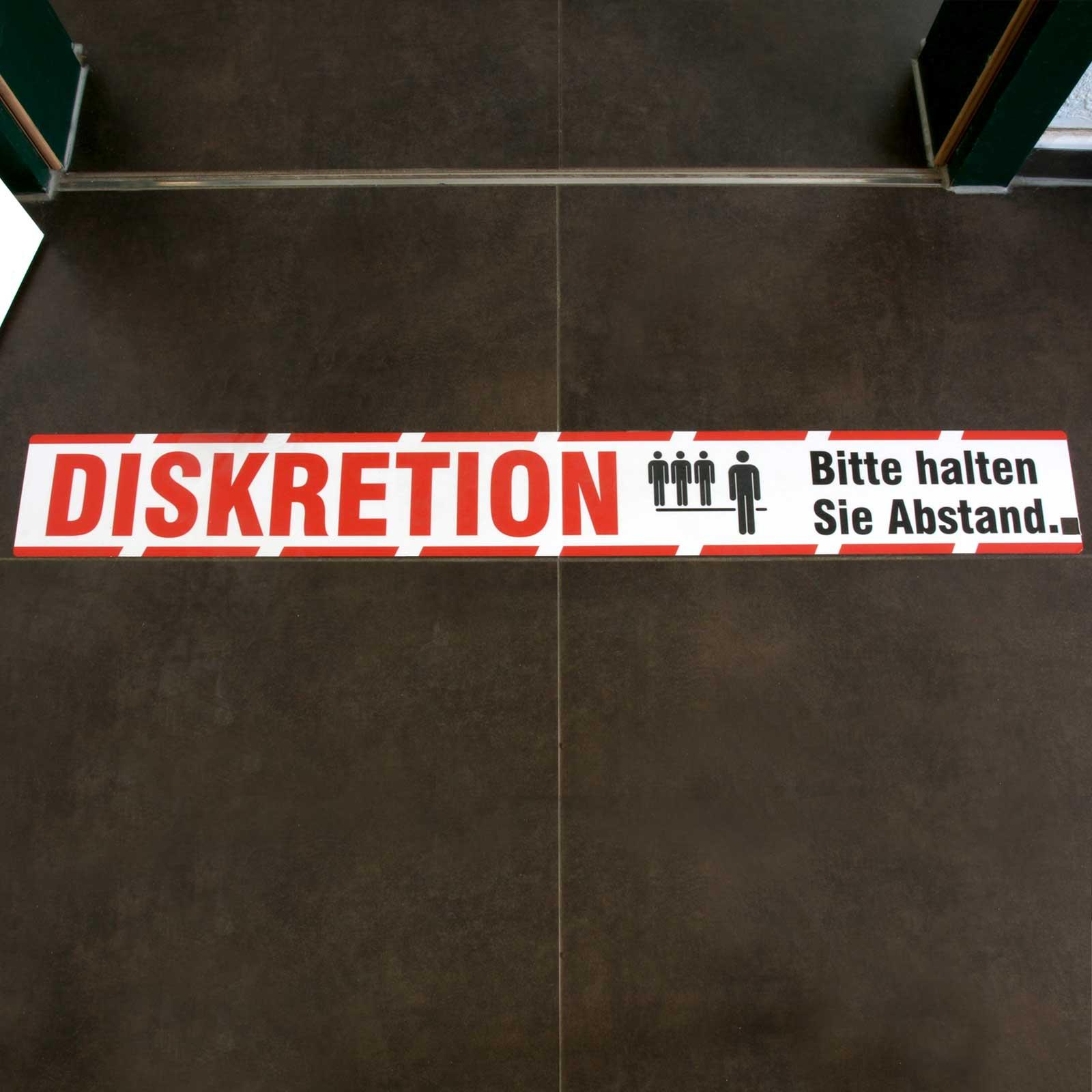 Diskretion Abstand Halten Aufkleber Fußbodenaufkleber Laminat 90x11 Cm