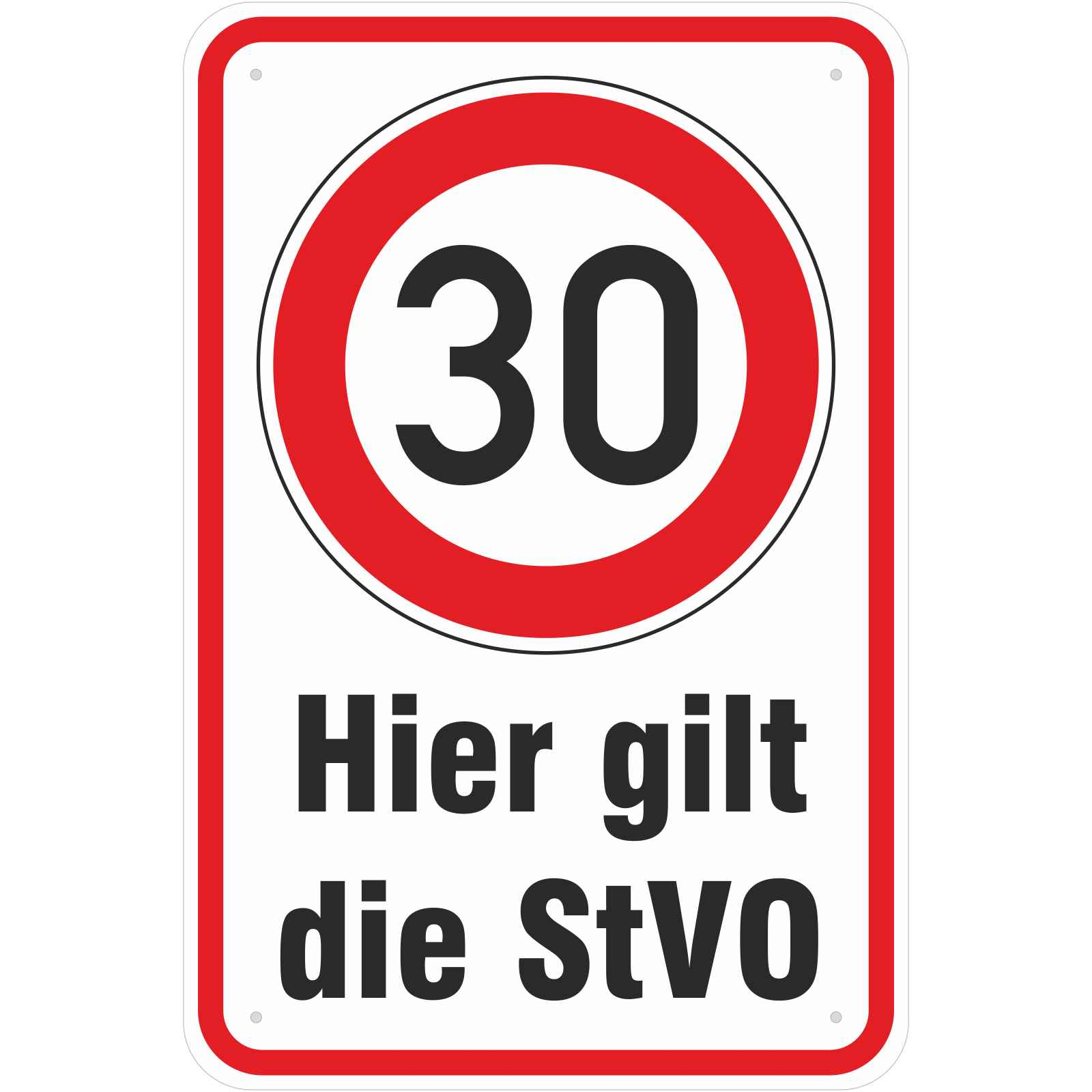 schild hier gilt die stvo 30 km h fahren 3mm alu. Black Bedroom Furniture Sets. Home Design Ideas