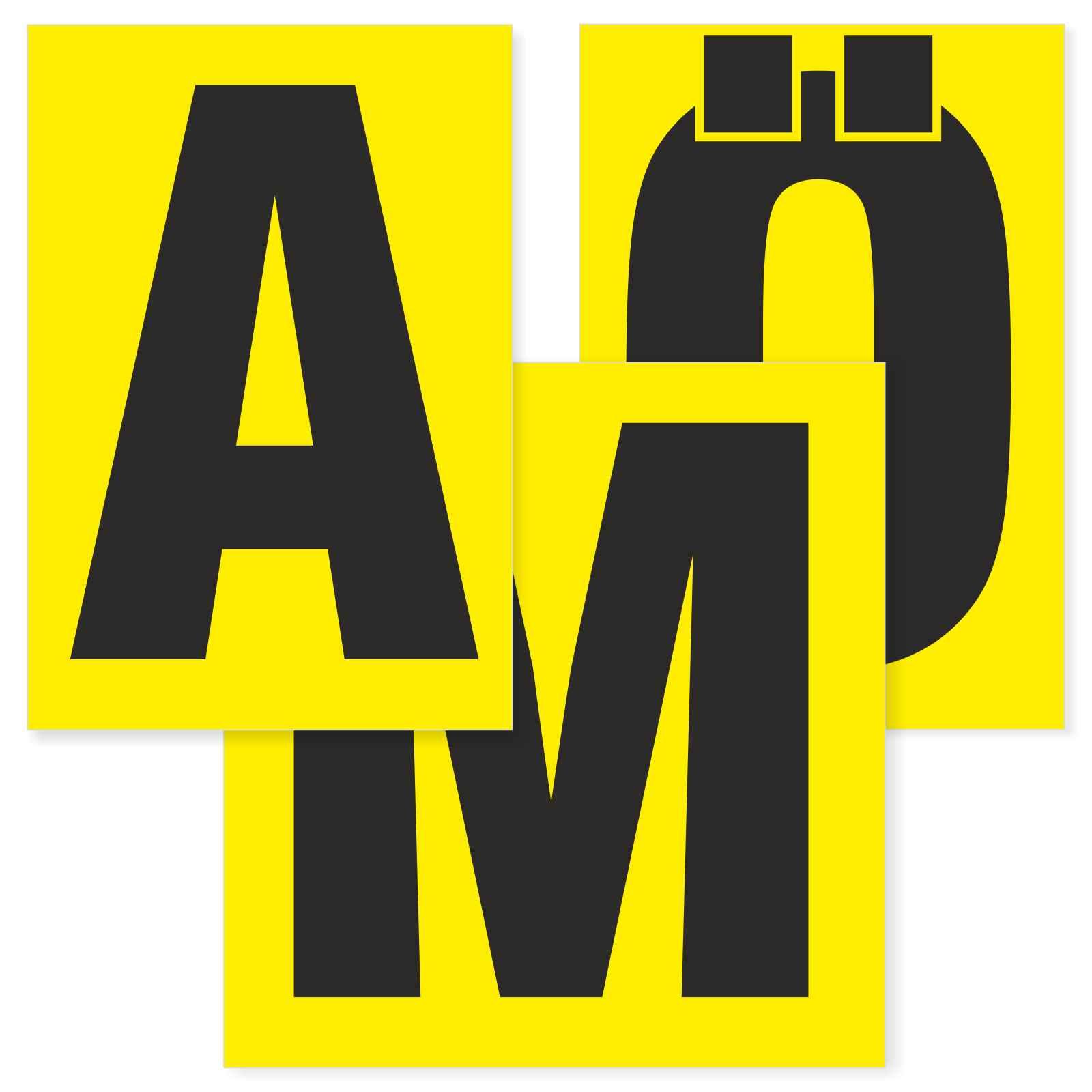 buchstaben schwarz auf gelb 80 mm hoch wetterfest als aufkleber klebebuchstaben. Black Bedroom Furniture Sets. Home Design Ideas