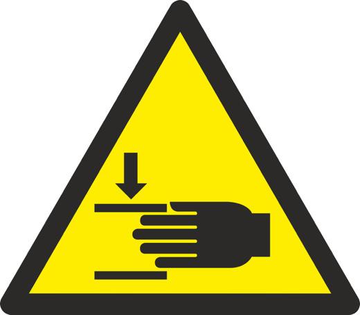 Aufkleber oder Schild Warnung vor Handverletzungen W024 diverse Größen