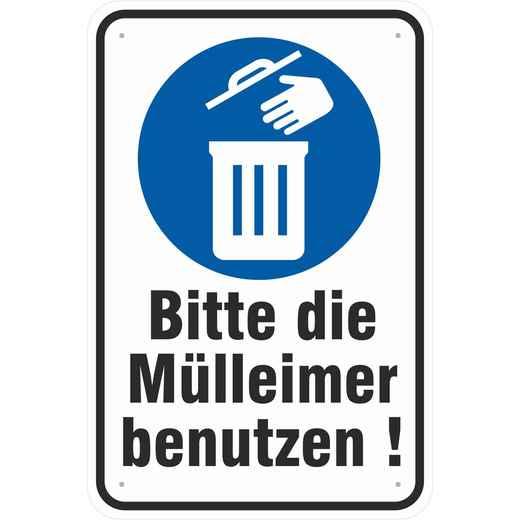 Schild Mülleimer benutzen Abfall Müll Eimer nutzen 3mm Alu-Verbund