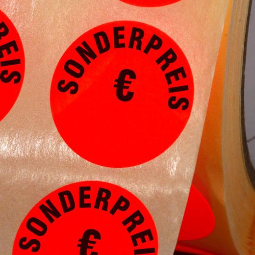 Etiketten Sonderpreis € Haftpapier 30 mm rund leuchtend rot zum beschriften