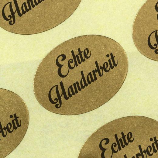 Etiketten Aufkleber Echte Handarbeit gold Sticker 25 x 18 mm Haftpapier auf Rolle