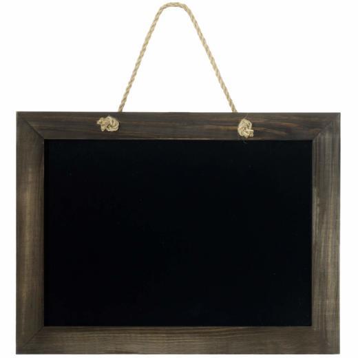 Kreidetafel MEDAN Wandtafel mit Kordel 40x30 cm Tafel Memotafel Echtholz braun
