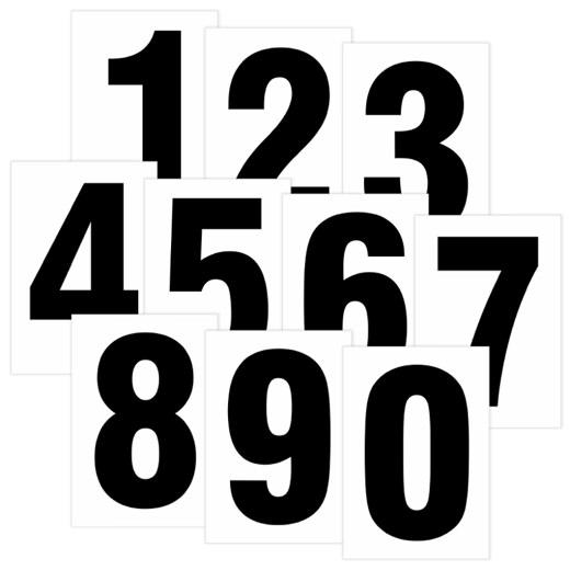 Zahlen schwarz auf weiß 80 mm hoch wetterfest als Aufkleber Klebezahlen Regalbeschriftung