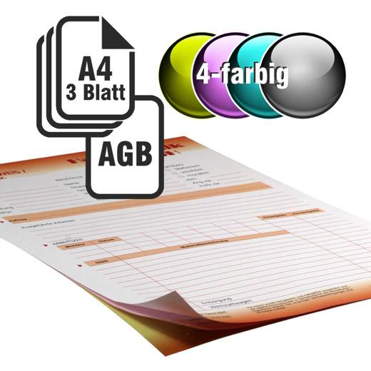 Durchschreibesätze 4/1-farbig A4 2-fach durchschreibend mit Rückseitendruck