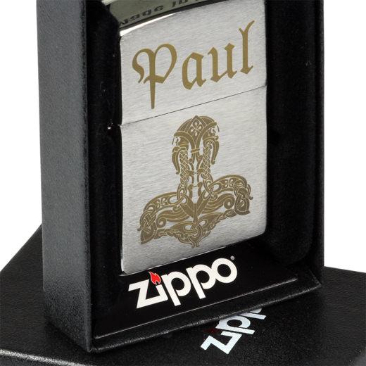Zippo Benzinfeuerzeug Brush Chrom mit individueller Gravur Lasergravur