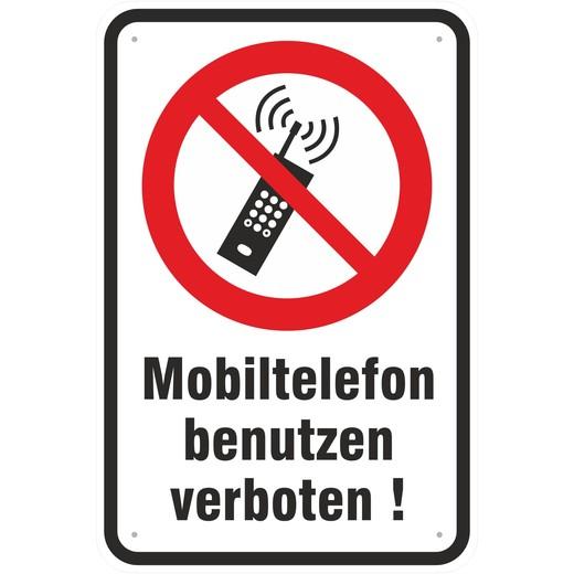 Schild Mobiltelefon Telefon nutzen verboten Aluverbund 3 Größen