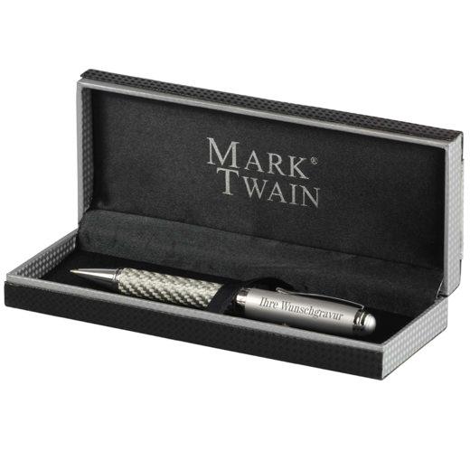 Kugelschreiber Mark Twain Columbia im Carbon-Design mit Gravur Namen Logo