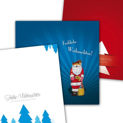 Weihnachtskarten 4/4-farbig mit Motivauswahl 210 x 105 mm als Klappkarte 350g