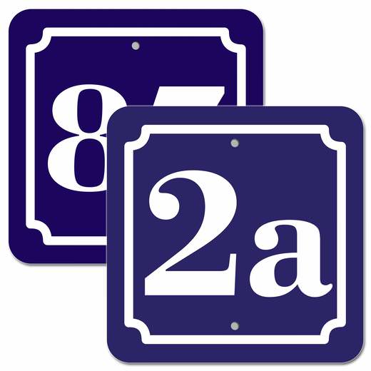Hausnummer Schild 2mm Aluverbund, blau 10x10 cm, für Zaun, Gartentor, Tür