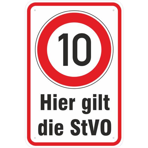 Schild Hier gilt die StVO 10 km/h fahren 3mm Alu-Verbund 3 Größen