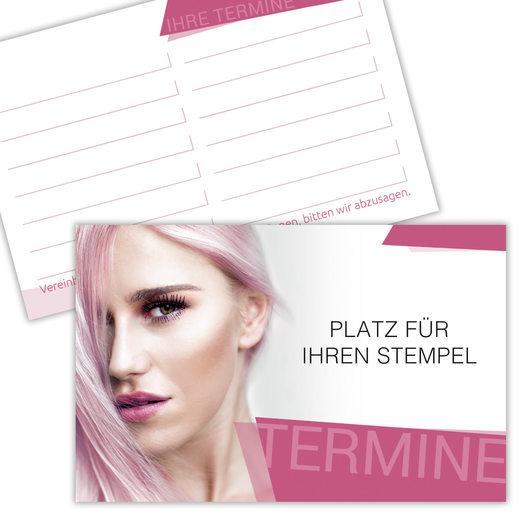 Terminkarte Kundenkarte Friseur Haardesign Hairstylist 350g Karton gut beschreibbar mit Stempelfeld