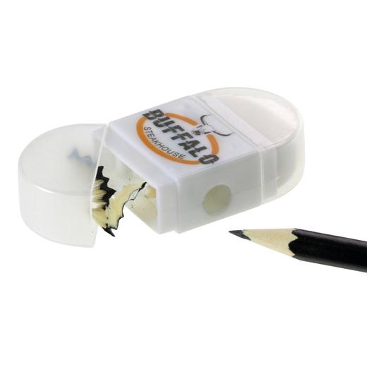 Bleistiftspitzer mit Radiergummi 4-farbiger Druck mit Werbung Logo