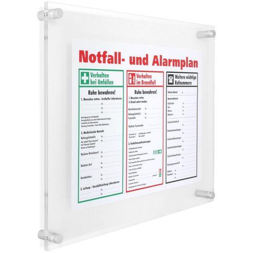 Schildersystem Kjeld Infoschild Büroschild Acryl mit 4 Abstandshaltern