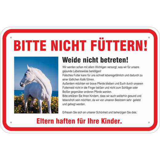 Schild Pferde bitte nicht füttern Weideschild 3mm Aluverbund