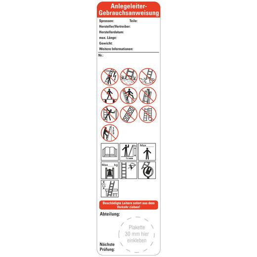 Bedienungsanleitung Anlegeleitern nach Leitern und Tritte BGI BGV 50 x 200 mm