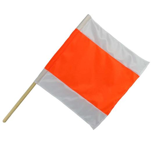 Warnflagge Warnfahne Warnsignal Signalfahne orange weiß Stoff mit Holzstab
