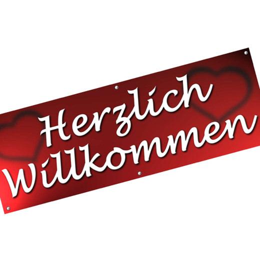 Spannbanner Banner Werbebanner Herzlich Willkommen 2 m lang