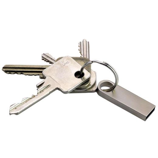 USB Stick als Schlüsselanhänger Keyna 8 16 32GB aus Metall mit Gravur Namen Logo