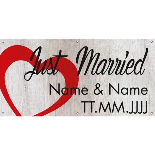 Banner Just Married Hochzeit mit Namen und Datum selbst gestalten 2x1m
