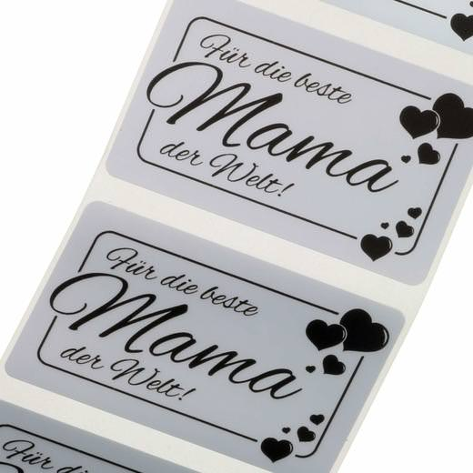 Etiketten Polyester silber 5 x 3 cm mit Druck 1-farbig schwarz von Ihrer Datei
