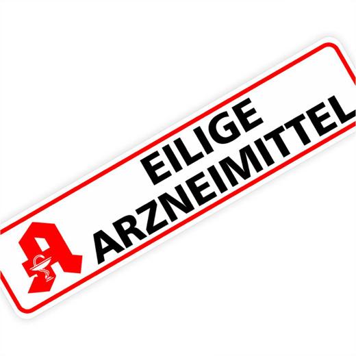 Magnetschild Eilige Arzneimittel 30 x 7 cm 1mm stark