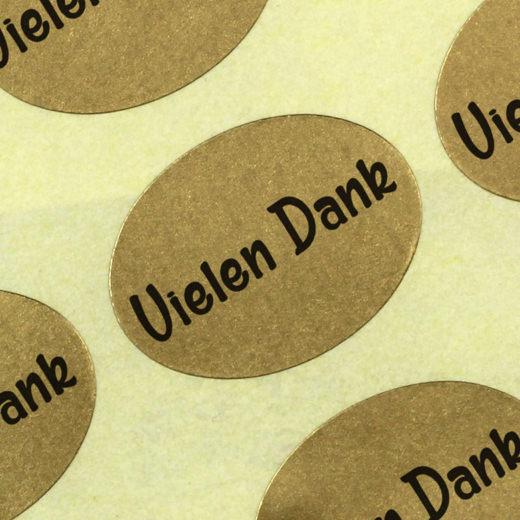 Etiketten Aufkleber Vielen Dank gold Sticker Blumen 25 x 18mm