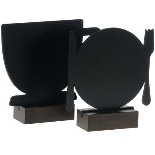 Kreidetafel Tischaufsteller Menütafel beidseitig beschriftbar mit Motiven Tasse Teller
