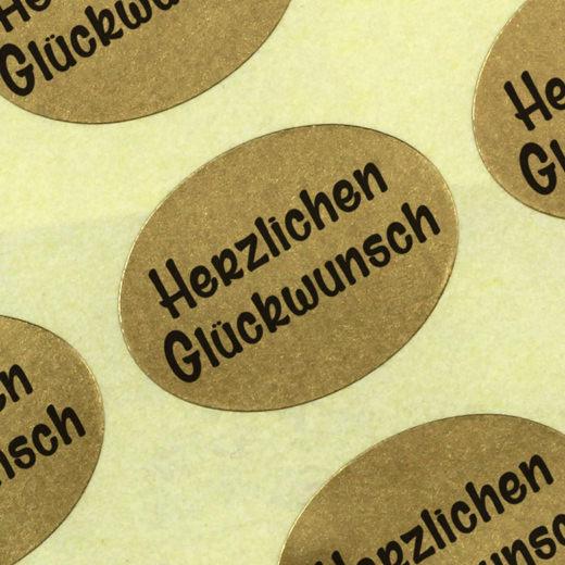 Etiketten Aufkleber Herzlichen Glückwunsch gold 25x18mm Haftpapier