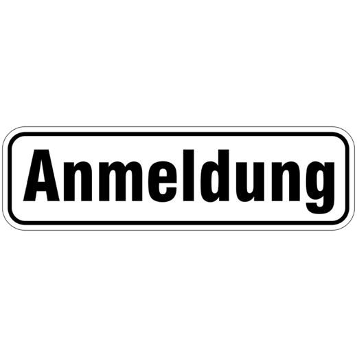 Anmeldung Türbeschriftung Aufkleber oder Schild 17 x 5 cm