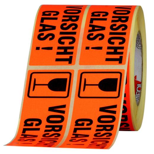 Etiketten Vorsicht Glas zerbrechlich Haftpapier 150 x 50 mm leuchtend rot