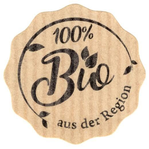 Etiketten Aufkleber 100% Bio aus der Region braun Natural Bois 35 mm