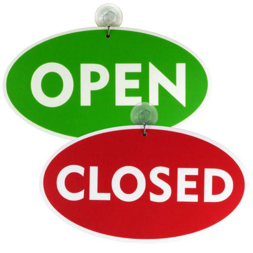 Open Closed geöffnet geschlossen Türschild Schild mit Saugnapf