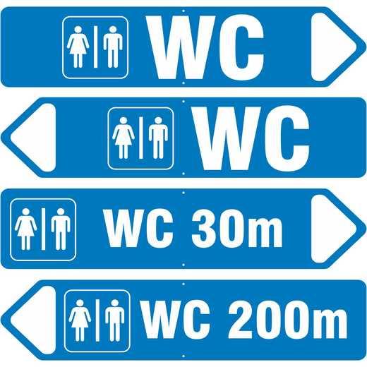 WC Schild Aluverbund mit Pfeil links rechts Meterangabe freier Text