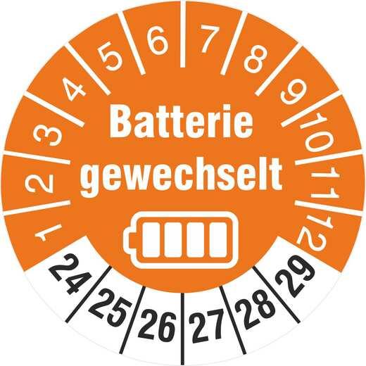 Prüfetiketten Batterie gewechselt Batteriewechsel durchgeführt 2020-2025